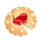 Close up of heart shaped strawberry biscuit. Isolated on a white background Royalty Free Stock Photography