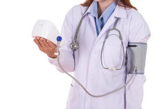 Close-up hearth beat monitor and blood pressure with female doct Stock Photography