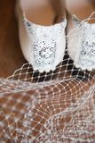 Detail of the Heels of a Pair of White Vintage Shoes Trimmed with Lace and Pearls. Stock Photos