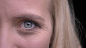 Close-up helft-gezicht portret van jong mooi Kaukasisch wijfje die met grijze ogen recht camera bekijken stock footage