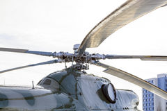 Close up of a helicopter rotor hub and blades. Exhibit at victory Park Royalty Free Stock Image