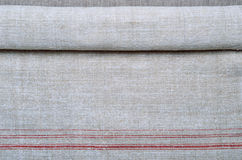 Close-up of the hemp homespun cloth with red stripe Stock Photography