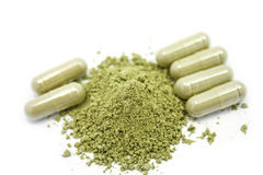 Close up herbal antipyretic capsules Stock Image