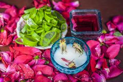Close up of a herbal face pack consisting of Aloe Vera gel,honey,milk cream,lemon and rose with rose water and rose petals on wood royalty free stock photography