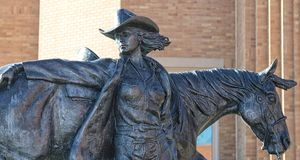 Close Up of The High Desert Princess Statue at the National Cowgirl Museum and Hall of Fame. Stock Photo