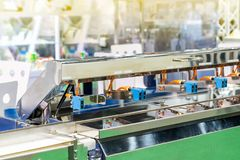 Close up high performance detect sensor for goods inspection on continue mass production line for industry commercial.  royalty free stock photography