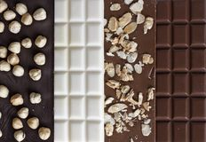Close up of high quality handmade chocolate bars Stock Image