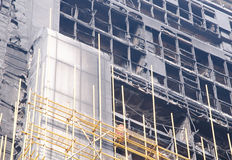 A close-up of high-rise building fire damage Stock Photography