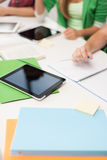 Close up of high school students with tablet pc Royalty Free Stock Images