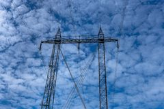 Close up of a high voltage pylon stock photography