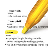 Close up of highlighter pen and word Team. Team highlighted in yellow with close up of highlighter pen on white background Royalty Free Stock Photos