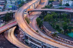 Close up, highway overpass intersection Stock Images