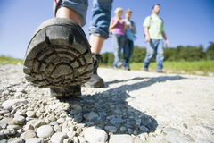 Close up of a hiker`s shoe. Stock Photography