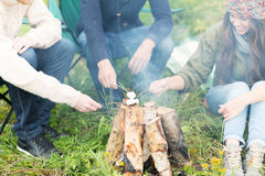 Close up of hikers roasting marshmallow on fire Royalty Free Stock Photos