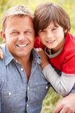 Close up of hispanic father and son Royalty Free Stock Images