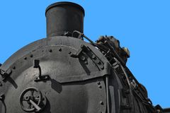 Close-up of a historic black steam locomotive, transport royalty free stock image
