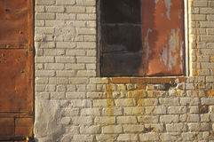 Close-up of historical brick building with rusty windows, Charleston, SC Stock Photography