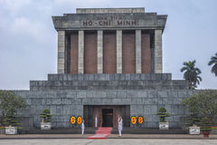 Close up of Ho Chi Minh mausoleum with guards and flowers. Stock Photography