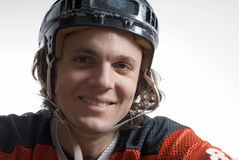Close Up of Hockey Player - Horizontal Stock Photo