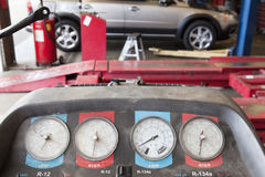 Close-up of a hoist pressure gauge in garage Royalty Free Stock Photography