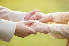 Close-up Holding Hands of lovers on wedding day. Royalty Free Stock Images