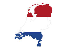 Close up on Holland, map on white background, no shadow Royalty Free Stock Image