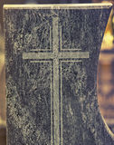 Close up on holy cross written in rock Royalty Free Stock Photography
