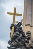 Close up of the Holy Trinity ColumnPlague Column at Lesser Town Square. Stock Image