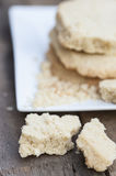 Close up of home baked shortbread biscuit cookies. Beautiful hand made shortbread biscuits cookies close up Stock Photography