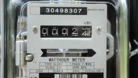 Close up home electricity watt hour meter stock footage