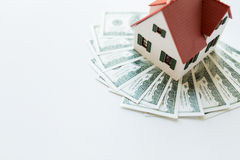 Close up of home or house model and money Stock Photos