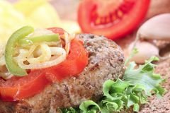Close-up of a home made burger Royalty Free Stock Image