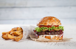 Close-up of home made burger Royalty Free Stock Photo