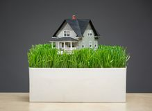 Close up of home model with green grass on stand. Close up of home model with green grass on grey background. Concept of real estate and building Stock Photo