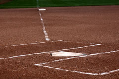 Close-up of Home Plate. The view down the left field line with home plate and the batters boxes in focus Royalty Free Stock Photo