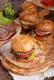 Close-up of homemade burger stock photo