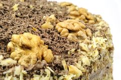 Close up of homemade cake decorated with nuts Stock Image