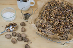 Close-up homemade cake with roasted walnuts Royalty Free Stock Images