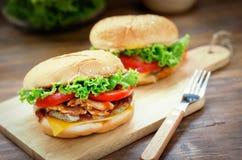 Close up of homemade cheese burger Stock Photos