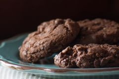 Close up of homemade chocolate, choc chip cookies. On a plate, shallow depth of field royalty free stock image