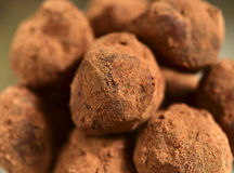 Close up of homemade chocolate truffles. royalty free stock photography