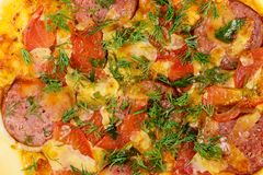 Close-up of homemade delicious pizza with salami, tomatoes and dill royalty free stock images