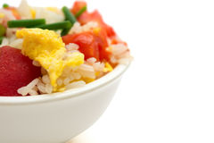 Close up of homemade fried rice with tomatoes and egg with clipping path Royalty Free Stock Images
