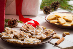 Close-up of homemade gingerbread Christmas cookies Stock Photography