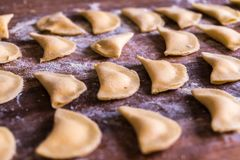 Close up of homemade italian pasta ravioli stock photo