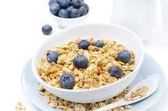 Close-up of homemade muesli, blueberries and milk Stock Photos