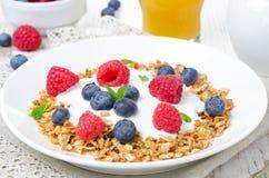 Close-up of homemade muesli with yogurt, raspberry, blueberry Royalty Free Stock Photography