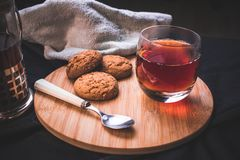 Close-up of homemade oatmeal cookies on the wooden board royalty free stock images