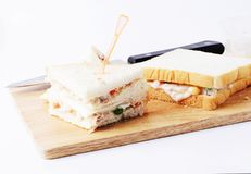 Close up of tuna sandwichs to eat on white background stock photos