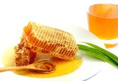 Close up honeycomb on white background. Honeycomb for health on white background.Stock photo Royalty Free Stock Photos